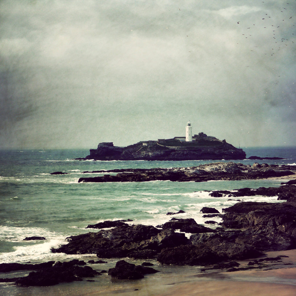 Oil painting of Godrevy Lighthouse, Cornwall, UK.